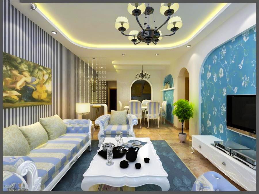 Thiết kế nội thất tường kẻ sọc phòng khách
