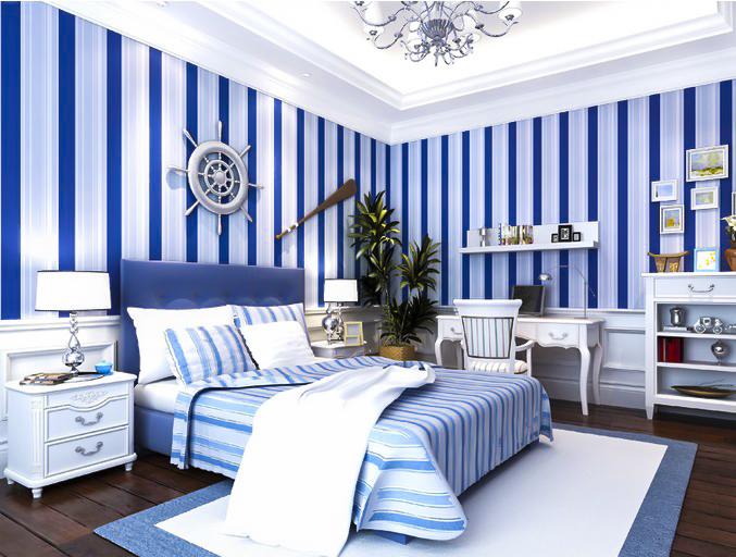 Thiết kế nội thất tường kẻ sọc phòng ngủ